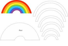 arco iris com nuvem em feltro molde para imprimir
