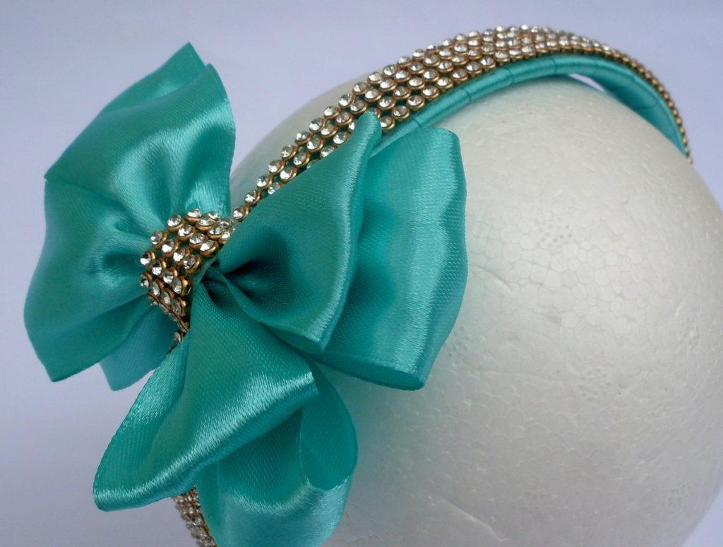 laço de fita cetim luxo tiara