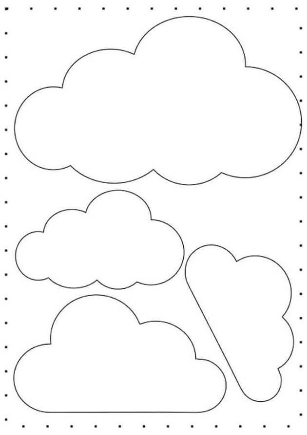 molde nuvem feltro chuva de amor