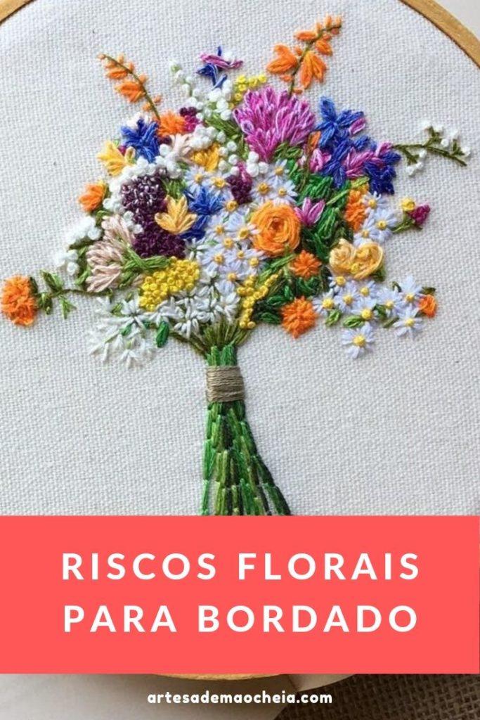 riscos florais para bordado livre