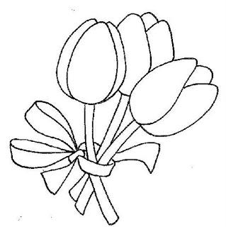 buque de tulipas risco para bordado livre
