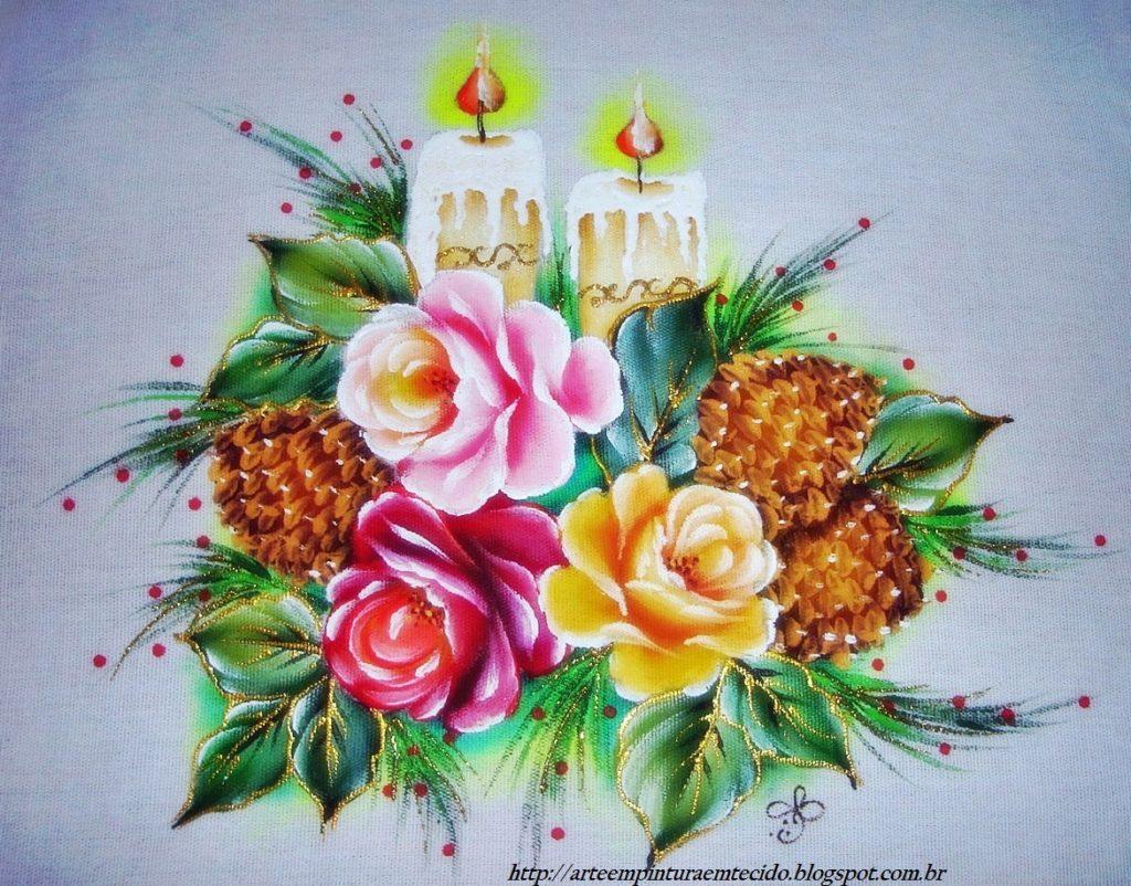 Pintura-em-tecido-Natal-rosa-vela-pinha