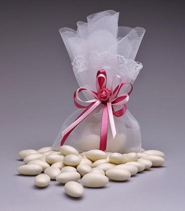 amendoa confeitada lembrancinha saco de organza