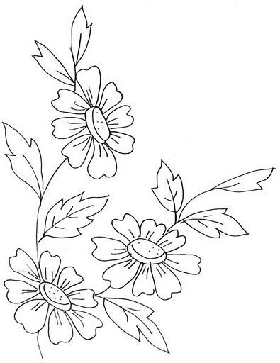 bordado livre riscos florais