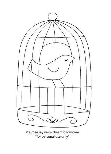 bordado risco gratis passarinho na gaiola