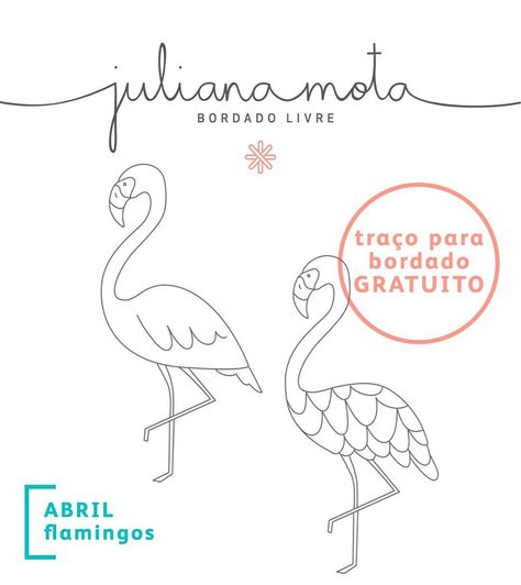 flamingo bordado risco gratis