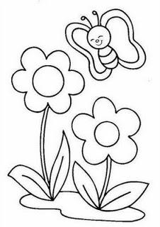 flor e borboleta risco bordado livre
