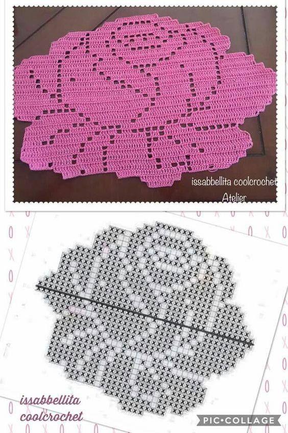 gráfico tapete de crochê rosa