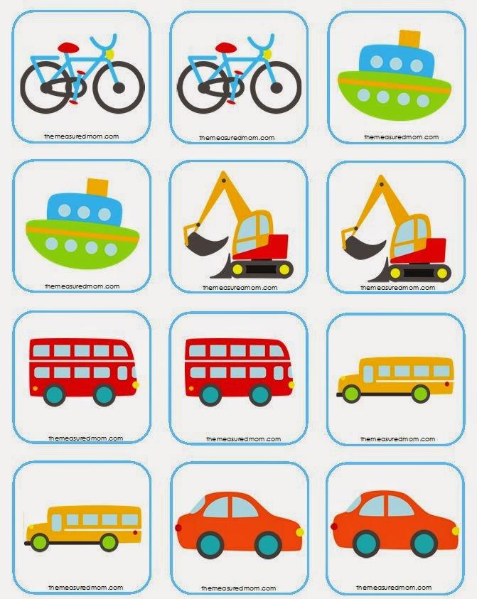 jogo da memória para imprimir objetos e meios de transporte