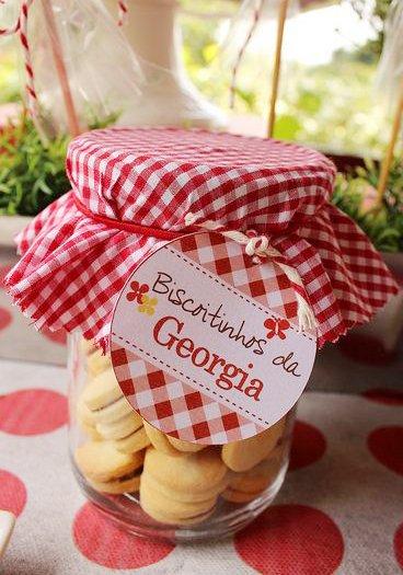lembrancinha festa de menina biscoitos no potinho