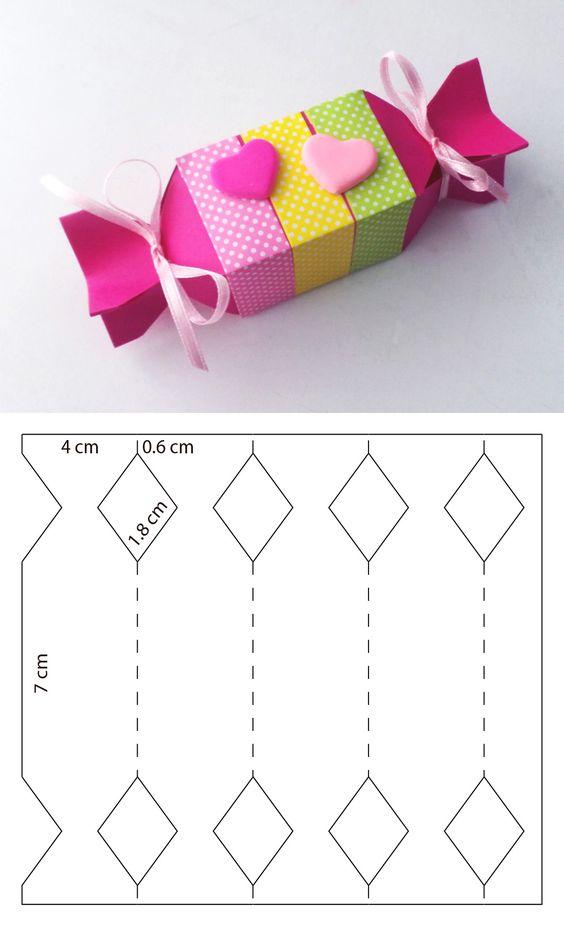 molde caixa de papel em formato de bala para lembrancinhas