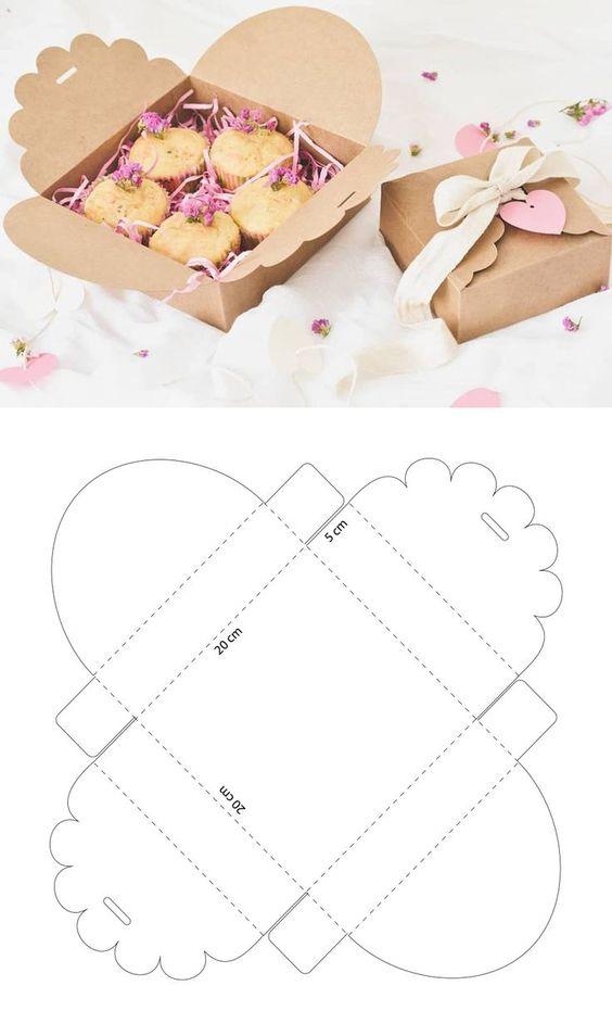 molde caixa de papel lembrancinha docinhos