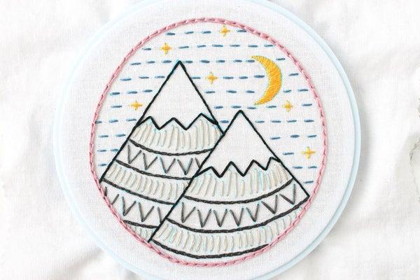 montanha risco bordado