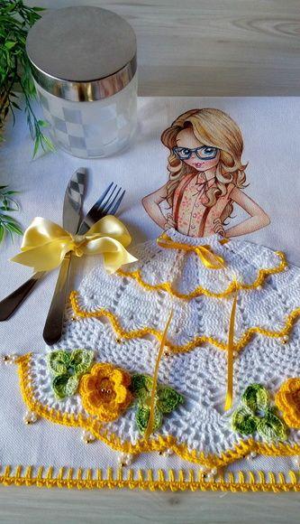 pano de prato vestido menina croche
