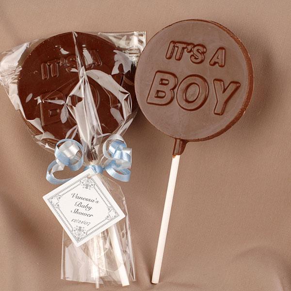 pirulito de chocolate para lembrancinha de maternidade