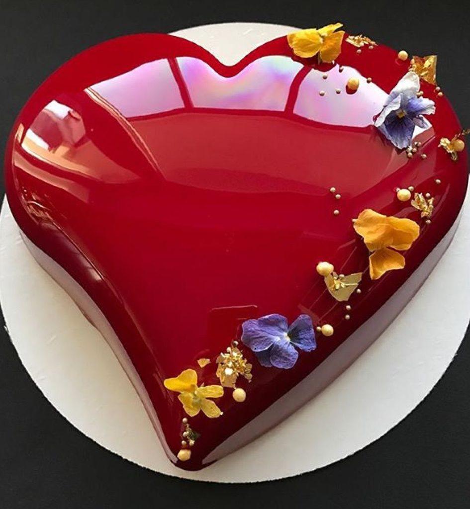 receita de bolo espelhado dia dos namorados