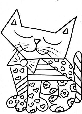 colorir gato romero brito desenho