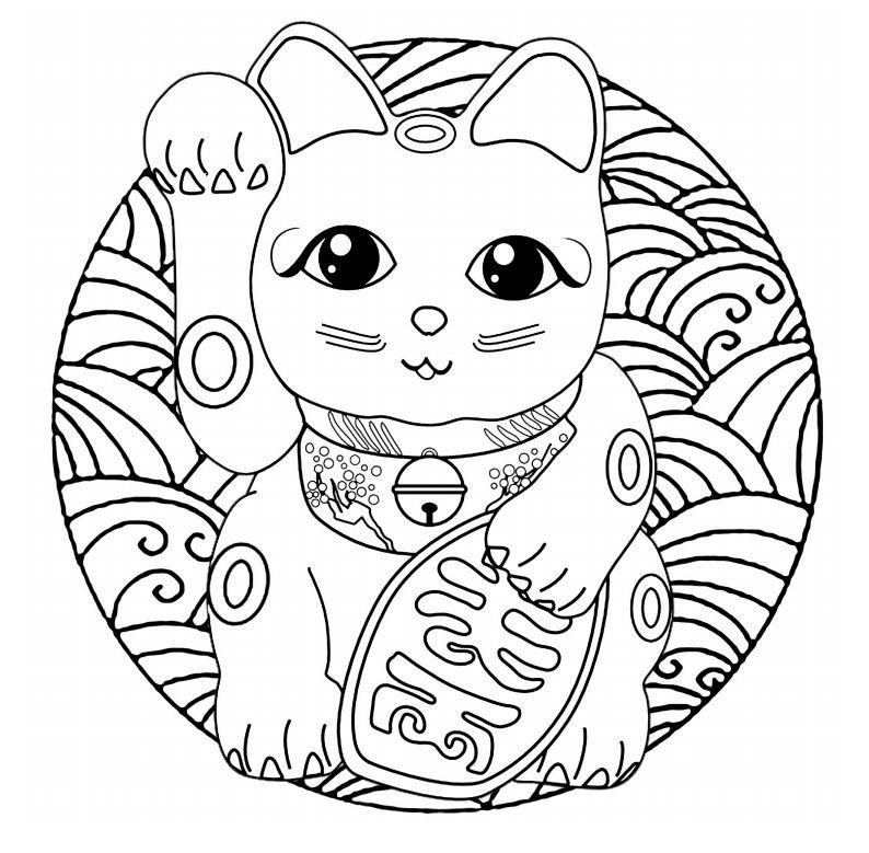 gato mandala para colorir
