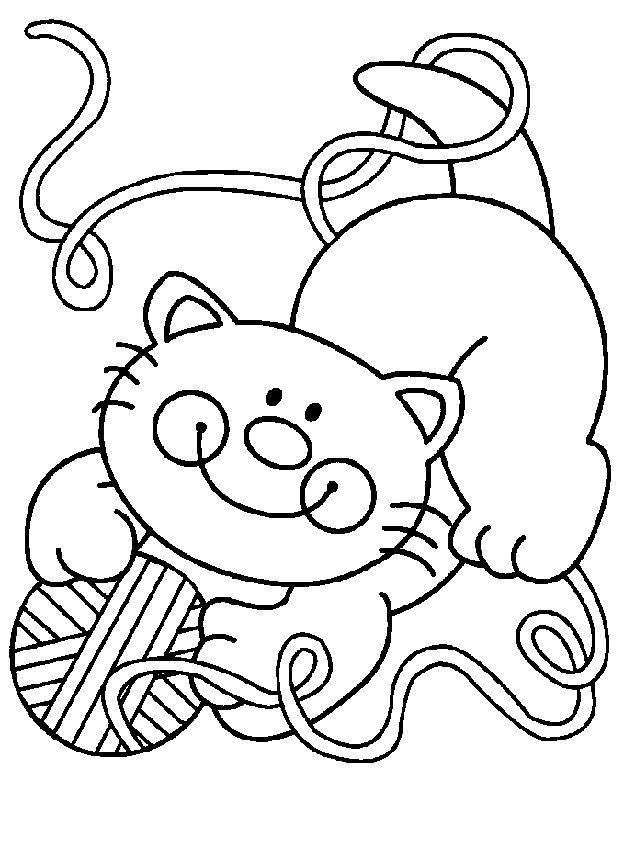 imagem gatinho com novelo para imprimir e colorir