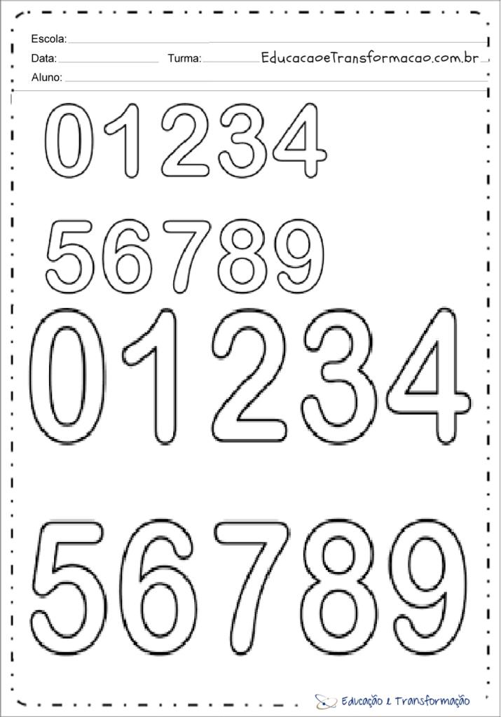 molde de numerais para imprimir