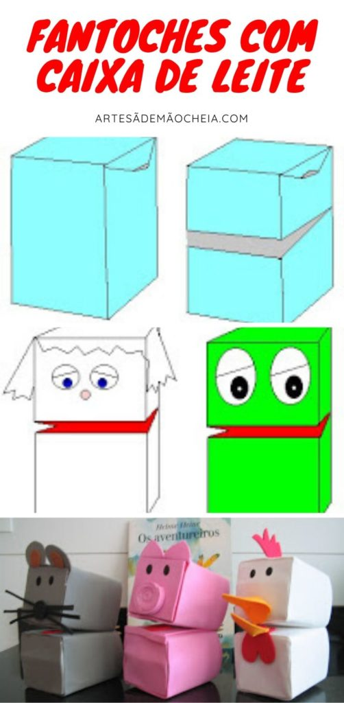 como fazer fantoche com caixa de leite