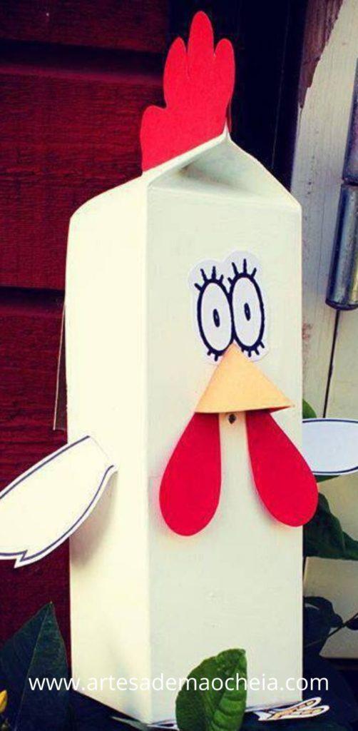 galinha brinquedo educativo caixa de leite reciclada