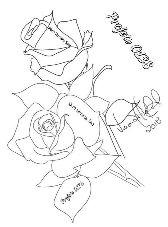 Riscos de Rosas para Pintura em Tecido 3
