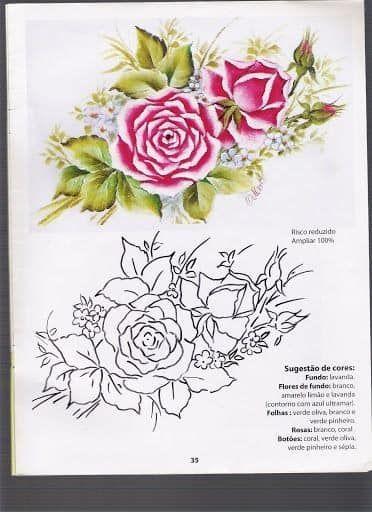 Riscos de Rosas para Pintura em Tecido 4