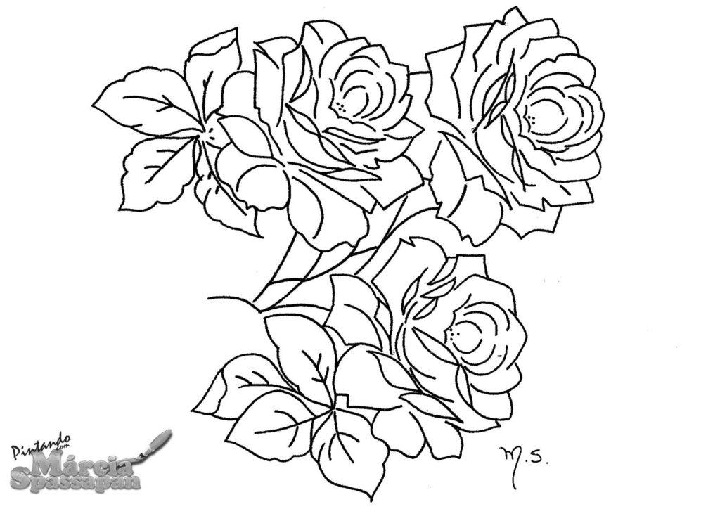 Riscos de Rosas para Pintura em Tecido rosas