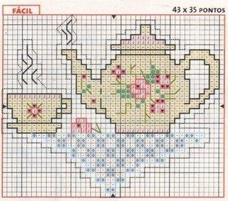 bule de cha florido grafico ponto cruz
