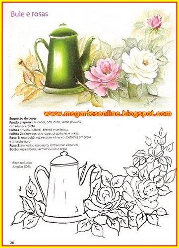 bule e rosas risco pintura em tecido para pano de prato