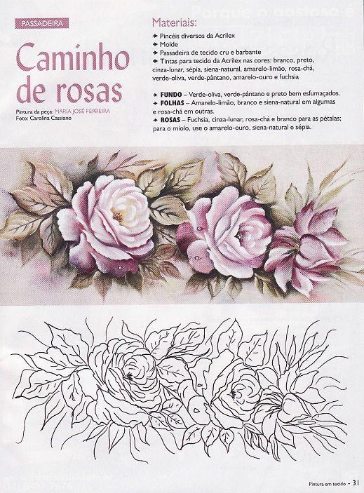 caminho de rosas risco pintura em tecido