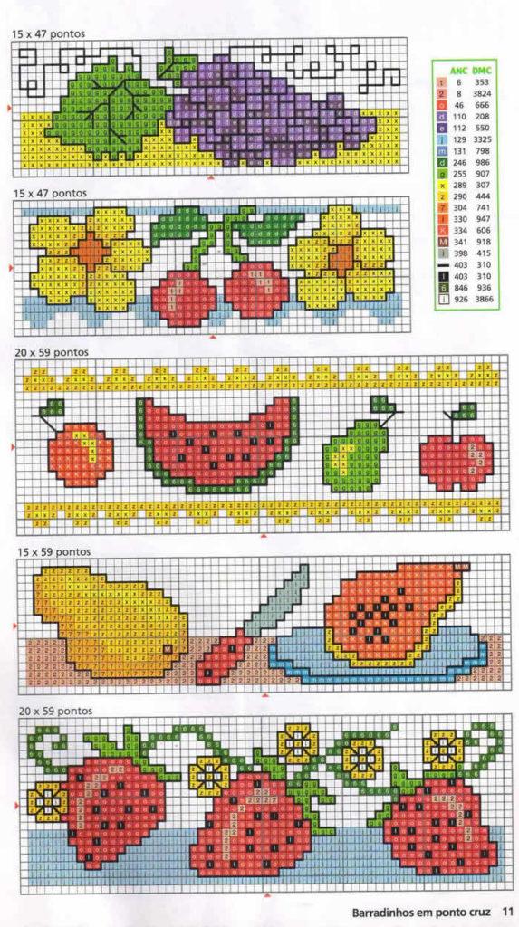 frutas para ponto cruz grafico gratis