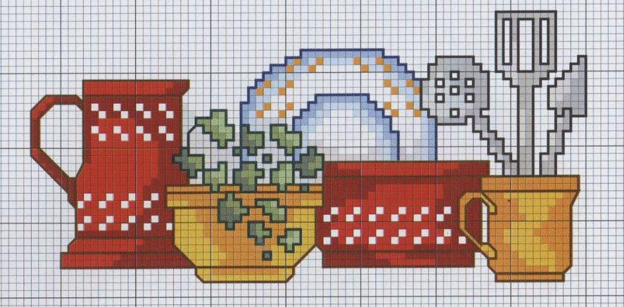 grafico ponto cruz utensilios de cozinha