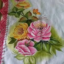 pano de prato pintura em tecido rosas