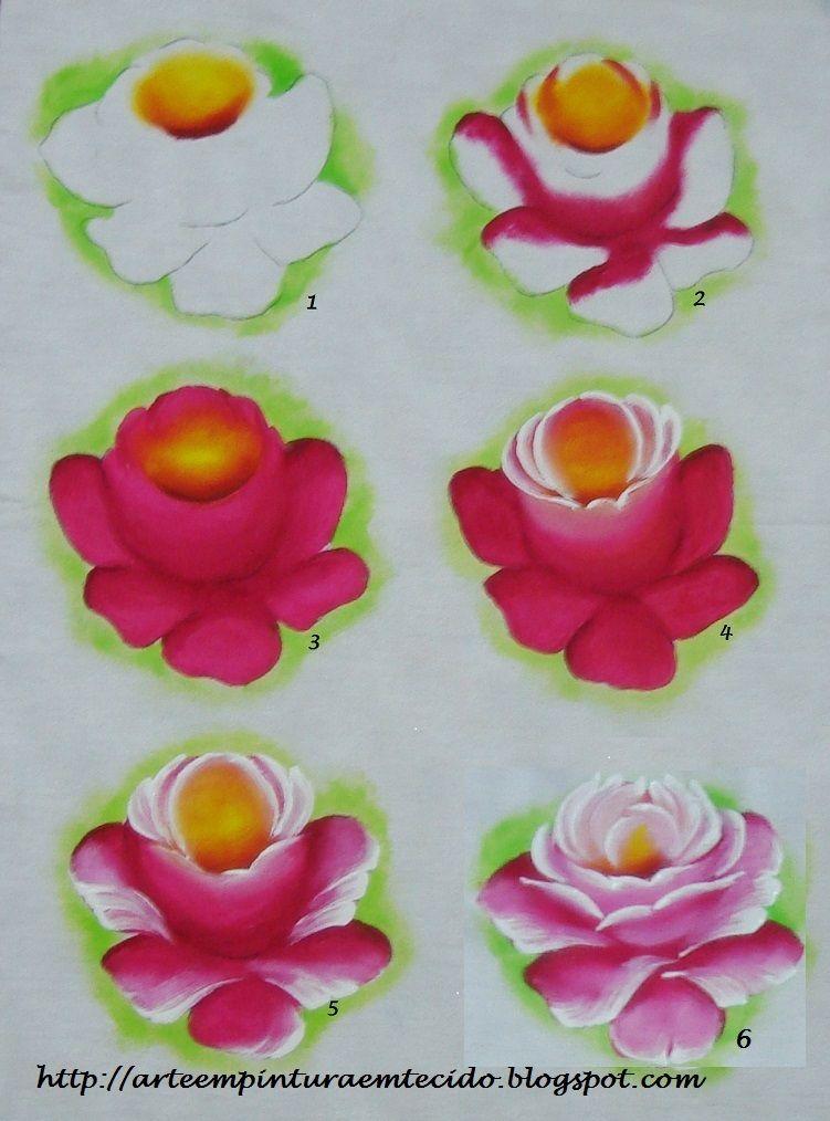 passo a passo pintar rosa em tecido