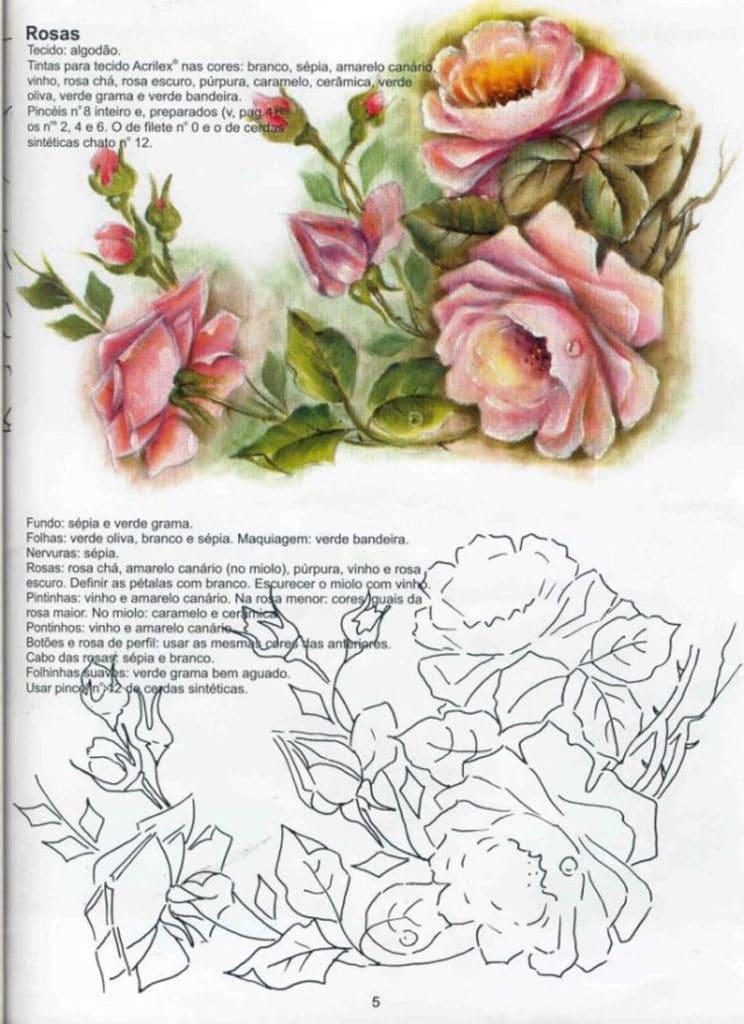 pintura em tecido rosas como fazer