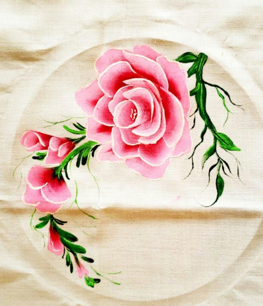 pintura em tecido rosas como pintar