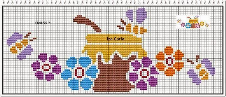 ponto cruz grafico mel e flores