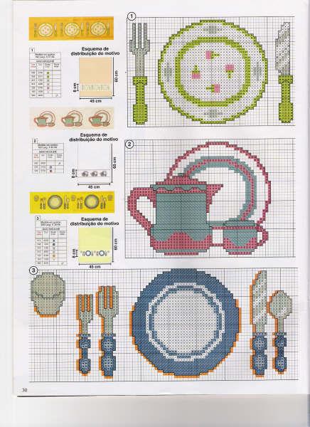 ponto cruz talheres e pratos grafico