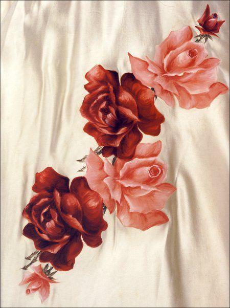 rosa pintada em tecido tecnica