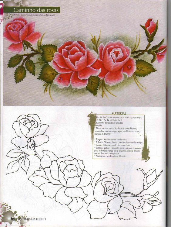 rosa pintura em tecido a mao