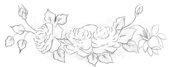 rosas pintadas a mao risco