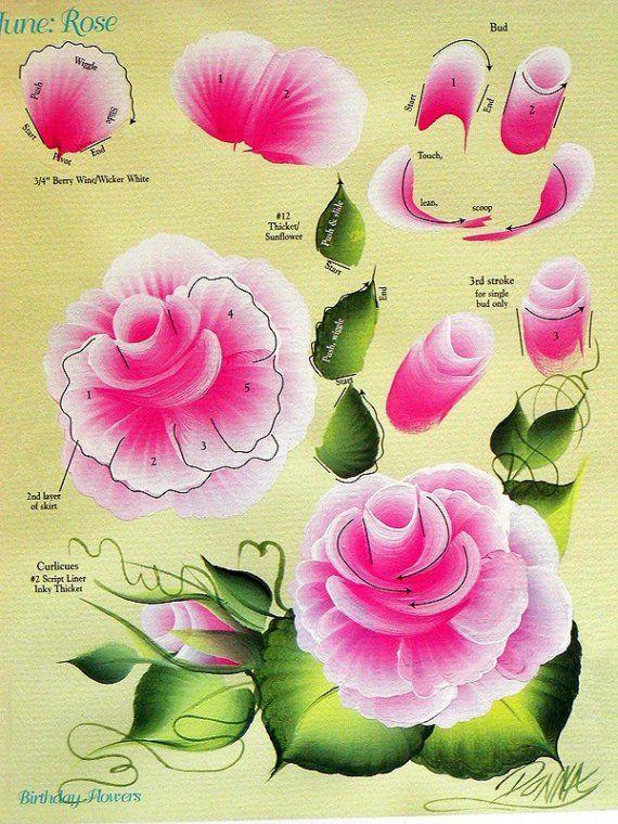 tutorial pintar rosa em tecido a mao