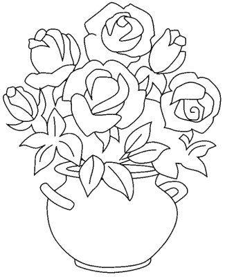 vaso de rosas risco pintura em tecido