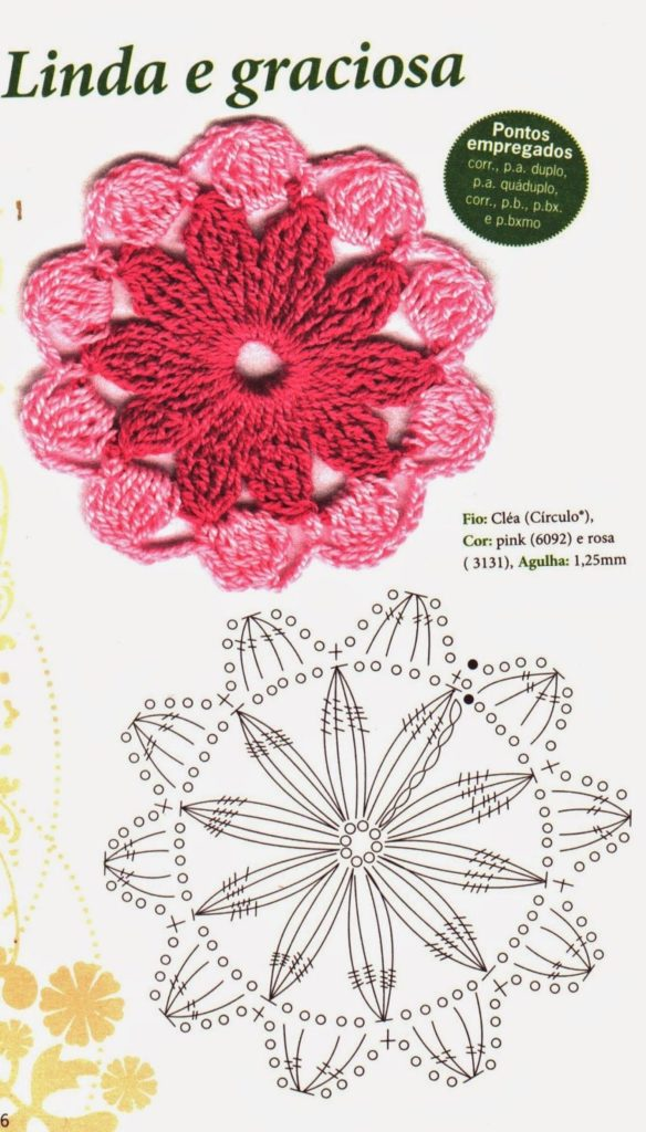 baixar gráfico de flor de crochê