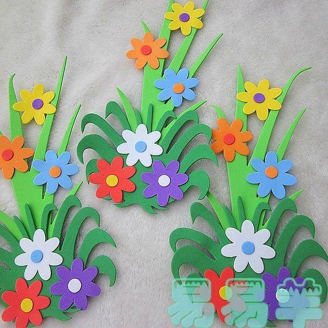 decoracao com flores de eva