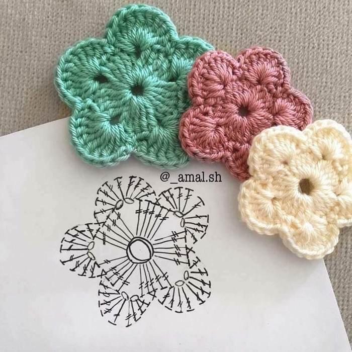flor de croche mini