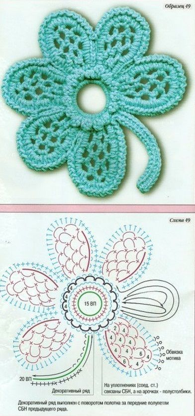 flor vazada de crochê gráfico