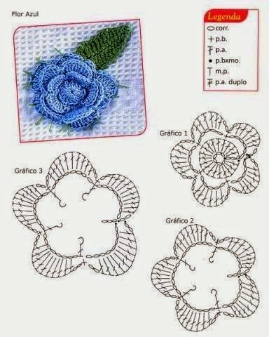 gráfico flor de croche para aplique